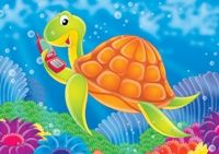 A colorful cartoon turtle swimming with a phone in his fin